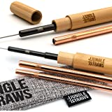 Jungle Straws | Reusable Stainless Steel Straws | Premium Metal Drinking Straws | Straight Rose Gold & Black Cocktail Straw Set | Eco Friendly Hot & Cold Drinks, Cleaning Brush, Travel Case & Bag