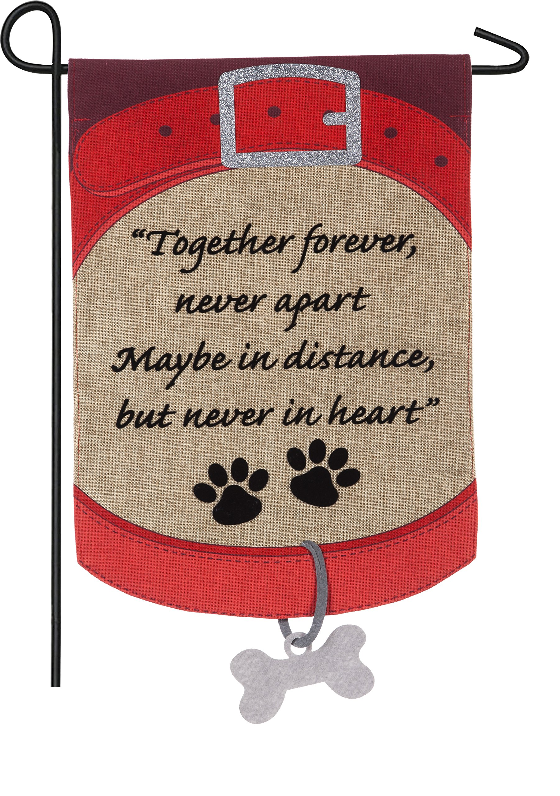 Evergreen Together Forever Pet Memorial Outdoor Safe Double Sided Burlap Garden Flag, 12.5 x 18 Inches