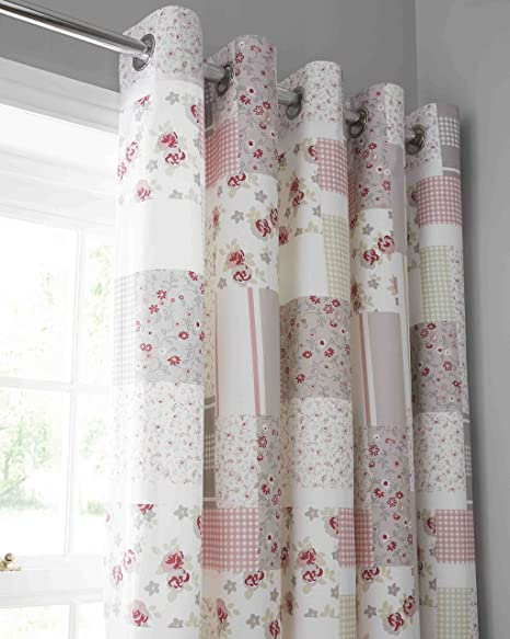 Pink Floral Pattern Patchwork Curtains 72s