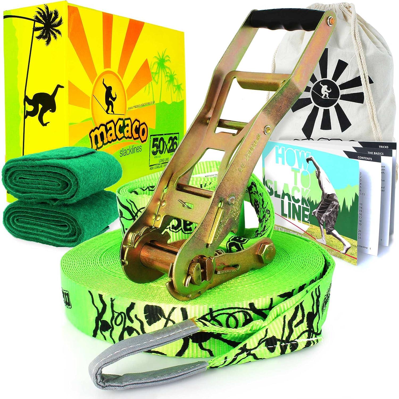 Macaco–Juego de accesorios para slackline 85ft (26M) largo (5cm de ancho) incl, trinquete, bolsa y de cómo a–Juego de accesorios para slackline de folleto. Firetoys