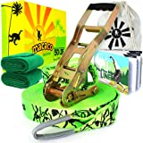 """Macaco Slackline Complete Set 26 Metre (85'x 2"""") and Booklet, Super Strong Ratchet With Grip, Tree Protectors and Cotton Bag. Very Easy To Set Up."""