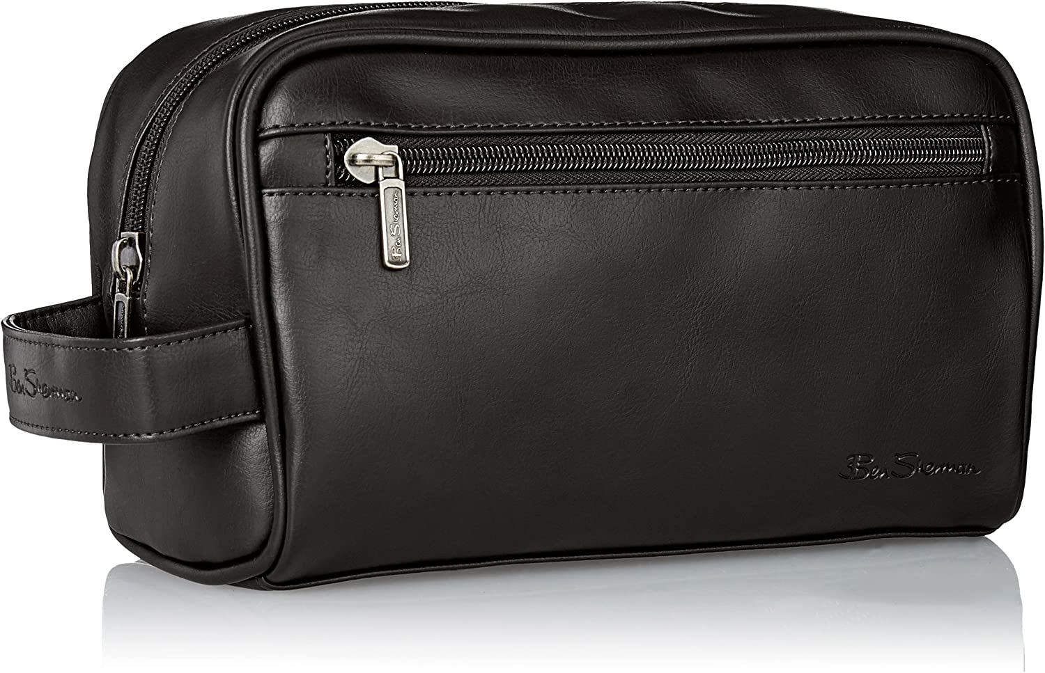 Black Ben Sherman Mens Mayfair Faux Leather Double Compartment Top Zip Travel Kit