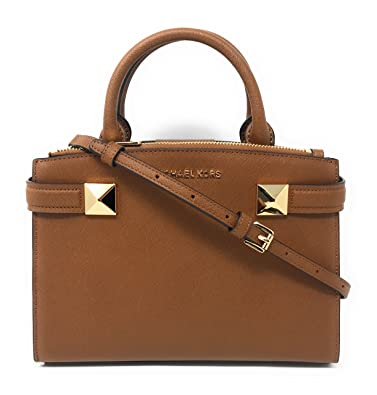 e5e281848650 Amazon.com: Michael Kors Karla Small EW Leather Satchel Bag in ...