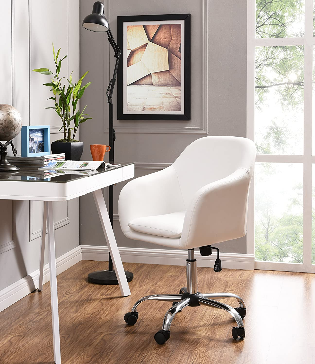 Amazon com home office chair executive mid back computer table desk chair swivel height adjustable ergonomic with armrest white kitchen dining