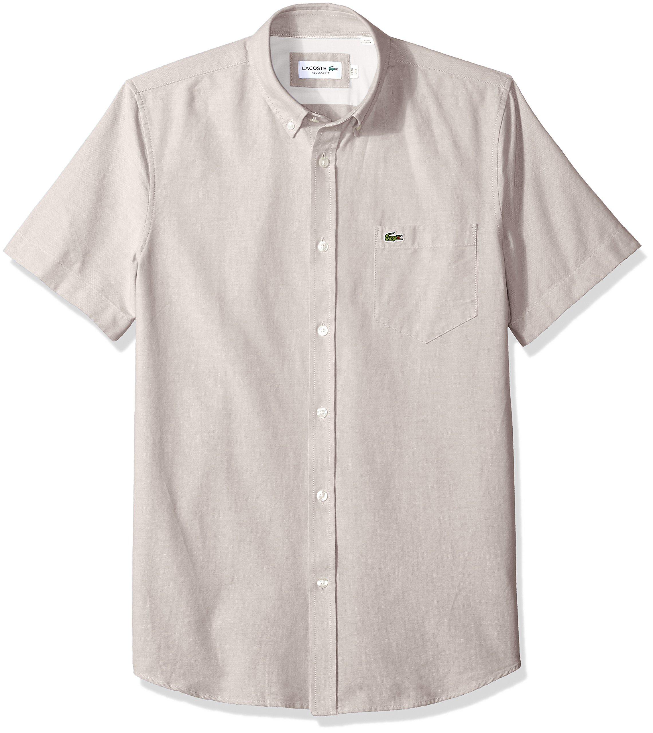 b5de45121 Galleon - Lacoste Men s Short Sleeve Oxford Button Down Collar Regular Fit Woven  Shirt