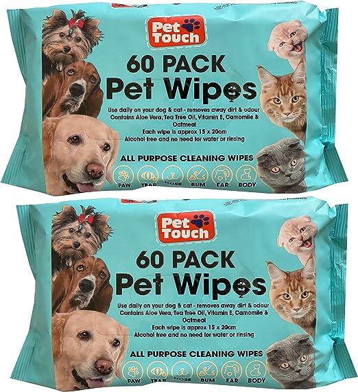 Toallitas para mascotas multiusos para perros y gatos sin alcohol toallitas limpiadoras para perros y gatos