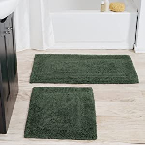 Cotton Bath Mat Set- 2 Piece 100 Percent Cotton Mats- Reversible, Soft, Absorbent and Machine Washable Bathroom Rugs By Lavish Home (Green)