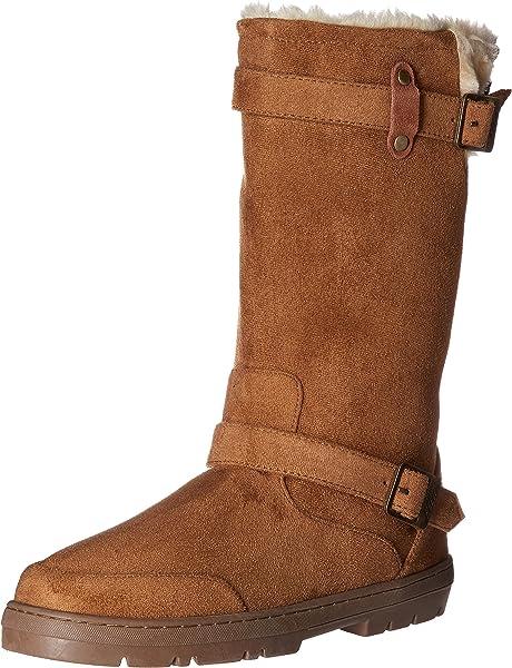 b92054520e618 Onlineshoeltd Ladies Womens Ella Biker Fur Lined Flat Winter Snow Boot -  Chestnut Brown