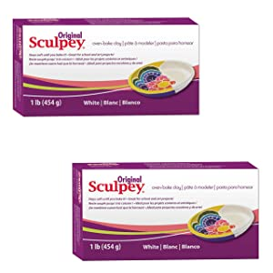 Original Sculpey Sculpturing Compound White Oven-Bake Clay - Great for School and Art Projects - 1 Lb, Pack of 3