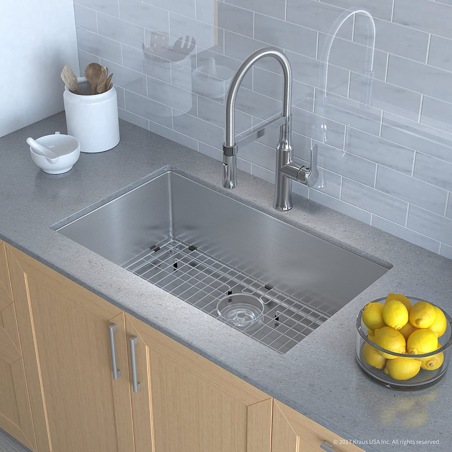 Terrific Kraus Khu100 32 1640 42Ch Combo With Handmade Undermount Stainless Steel 32 Bowl 16 Gauge Sink And Nola Single Handle Flex Commercial Kitchen Faucet Download Free Architecture Designs Sospemadebymaigaardcom