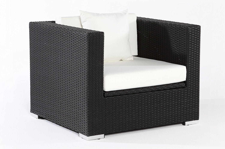 OUTFLEXX Sessel aus Polyrattan mit Kissenboxfunktion inkl. Polster und Kissen in schwarz