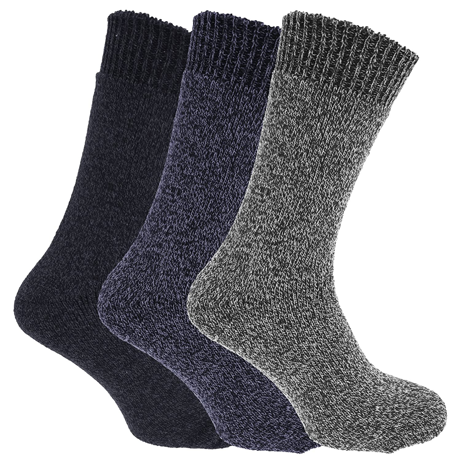 Pack Of 3 Mens Wool Blend Fully Cushioned Thermal Boot Socks