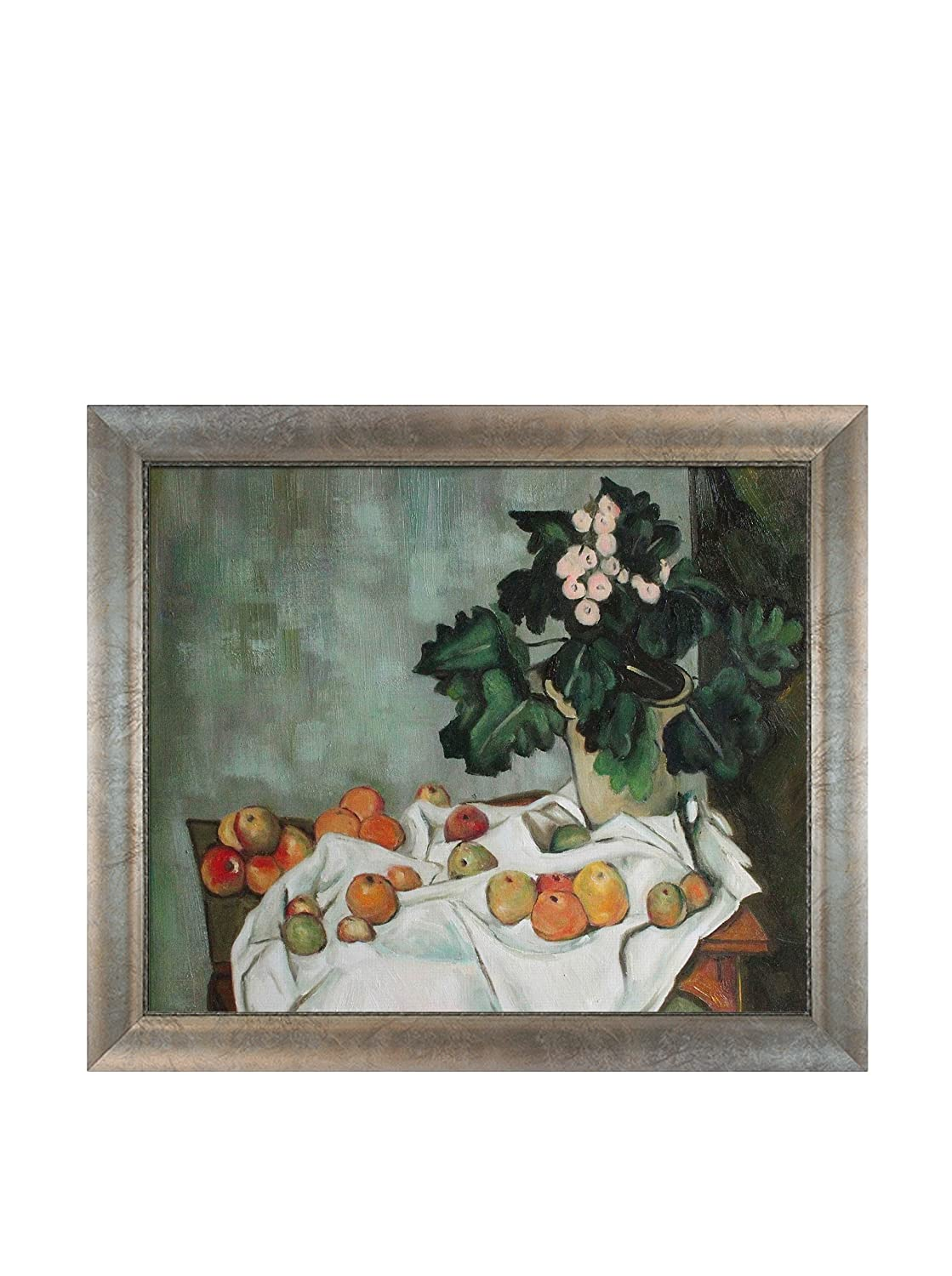 Silver Frame with Champagne Highlights overstockArt Still Life Oil Painting with Apples and a Pot of Primroses with Silver Scoop with Swirl Lip by Cezanne