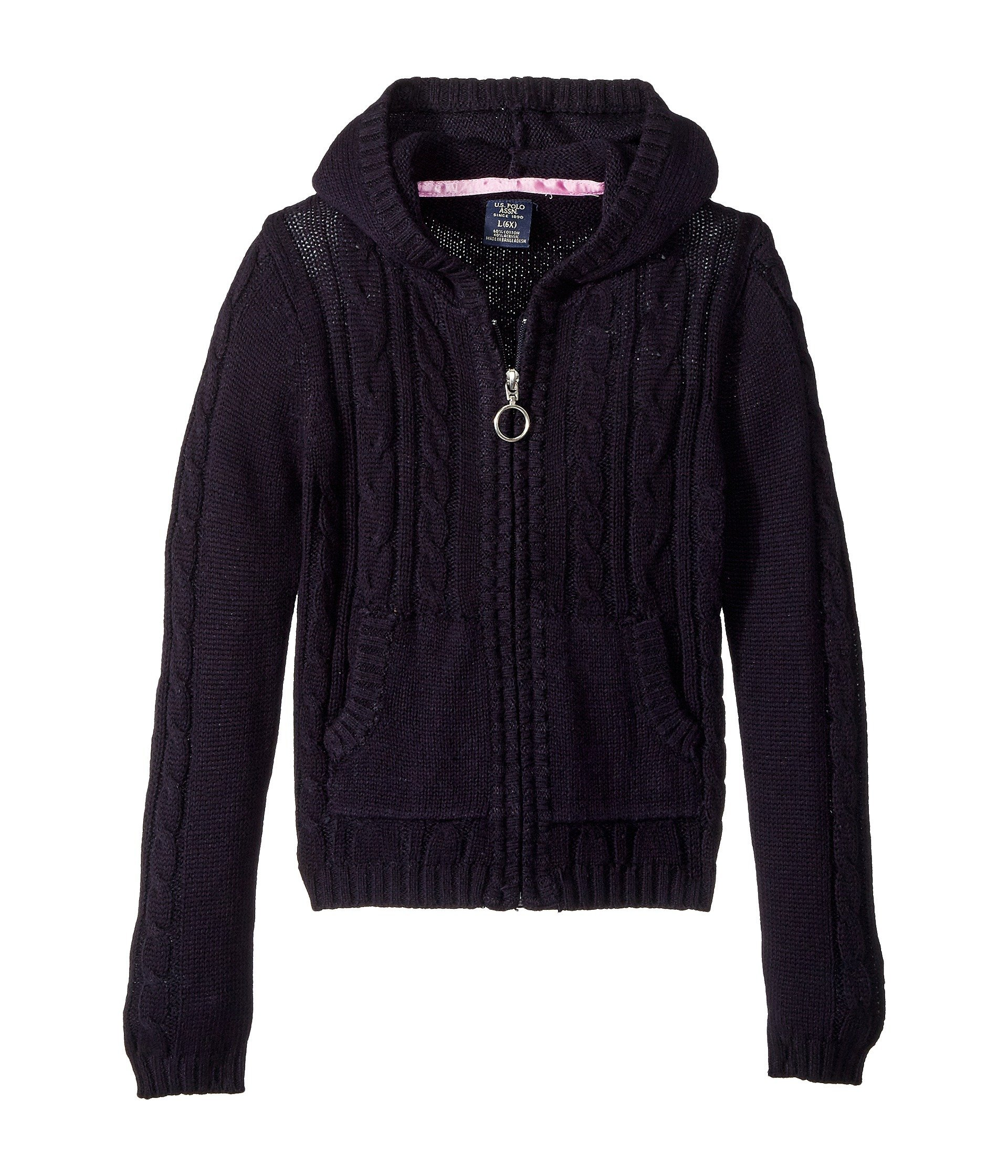 U.S. Polo Assn.. Little Girls' Cable Knit Zip Front Hi-Lo Hooded Sweater, Navy, 4