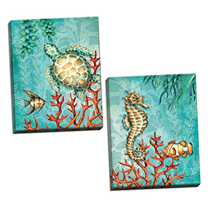 Gango Home Decor Sea Life Turquoise And Orange Under The Ocean Fish Turtle Seahorse And Coral Coastal Decor Two 11x14 Hand Stretched Canvases