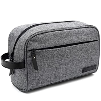 97d97c6a4fb4 Amazon.com : Mens Toiletry Bag Dopp Kit Travel Bathroom Bag Shaving Shower  Cosmetic Organizer Gray : Beauty