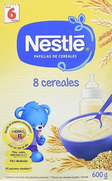 NESTLÉ Papilla 8 cereales - Alimento para Bebés - Paquete de 6 x 600 gr -