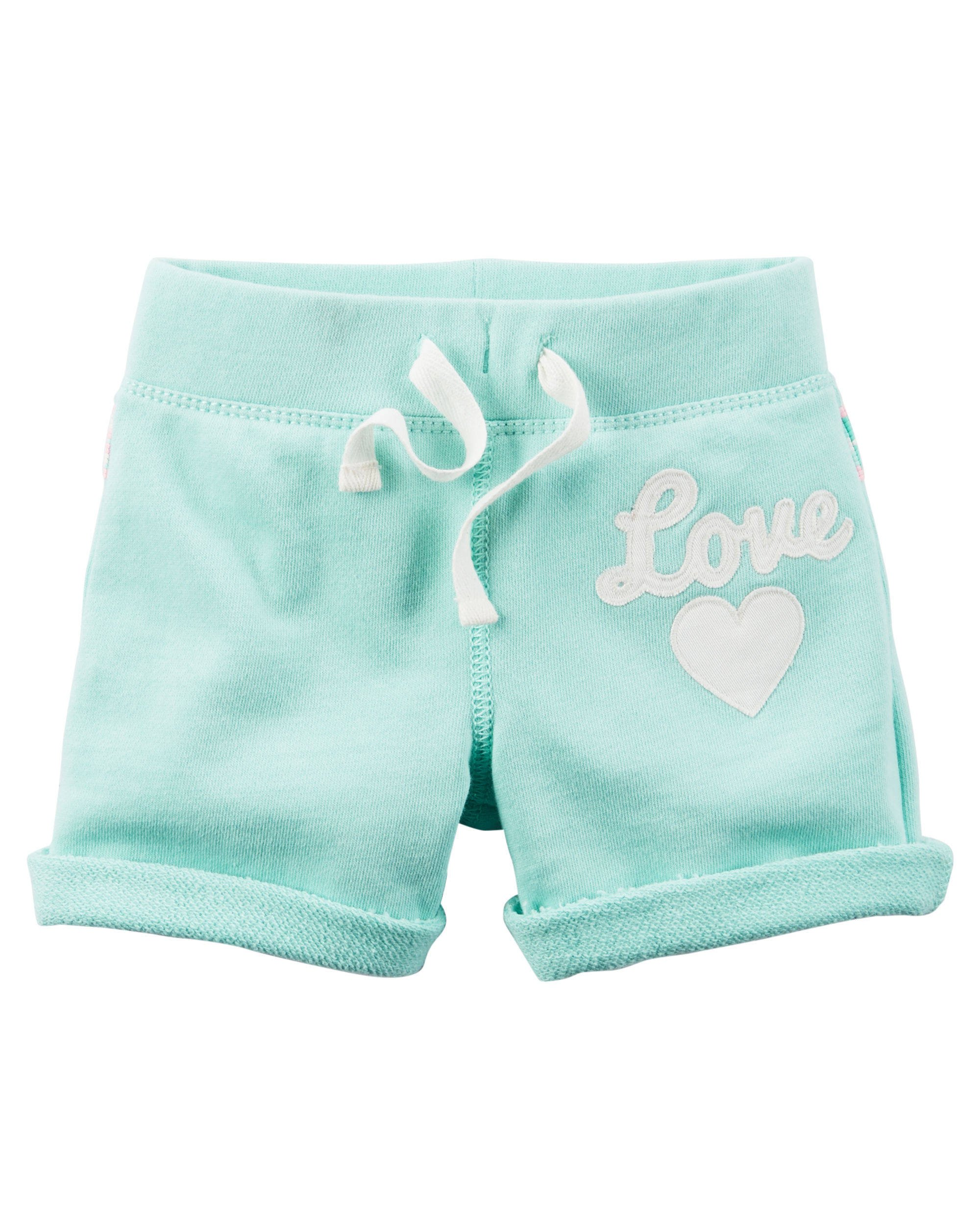 Carter's Little Girls' French Terry ''Happy'' or ''Love'' French Terry Shorts (8, Teal ''Love'') by Carter's (Image #1)