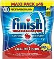 Finish Pack de 45 Lave Vaisselles Tablette Multifonctions Tout en 1 Parfum Citron