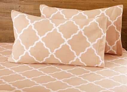 Great Bay Home Super Soft Extra Plush Fleece Sheet Set. Cozy, Warm, Durable, Smooth, Breathable Winter Sheets with Cloud Lattice Pattern. Dara Collection Brand. (King, Blush Pink) best twin-sized fleece sheet sets