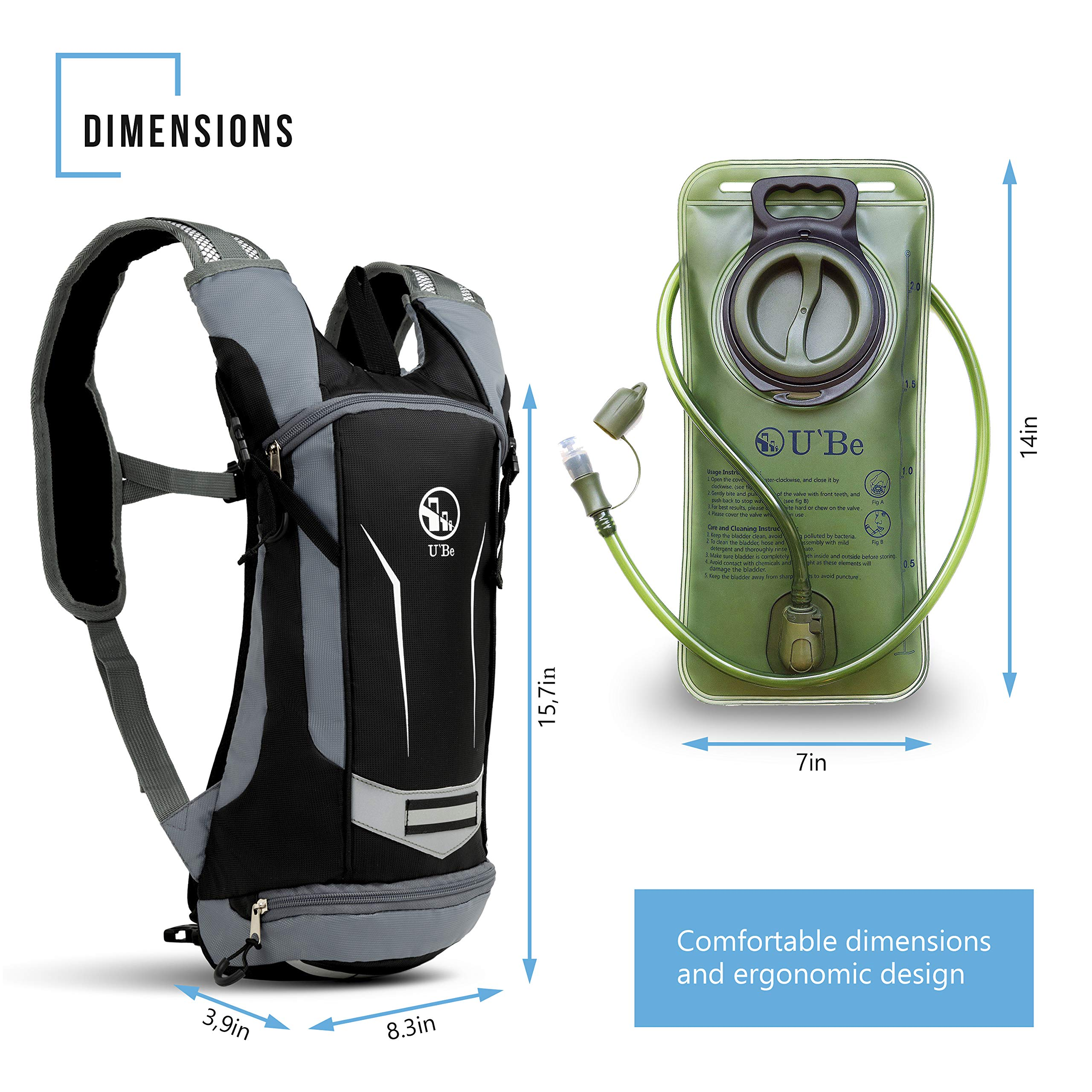 U`Be Hydration Pack - Hydration Backpack - Camel Pack Water Backpack with Insulated 2l Bladder for Women Men Kids Backpacking - Small Lightweight Water Reservoir for Running Hiking Cycling by U`Be (Image #4)