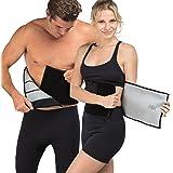Delfin Spa Schwitzgürtel Fitnessgürtel für Bauch für Frauen und Männer – aus Neopren mit Biokeramik Fasern, auf der gesamten Länge einstellbar, mit Handy Tasche