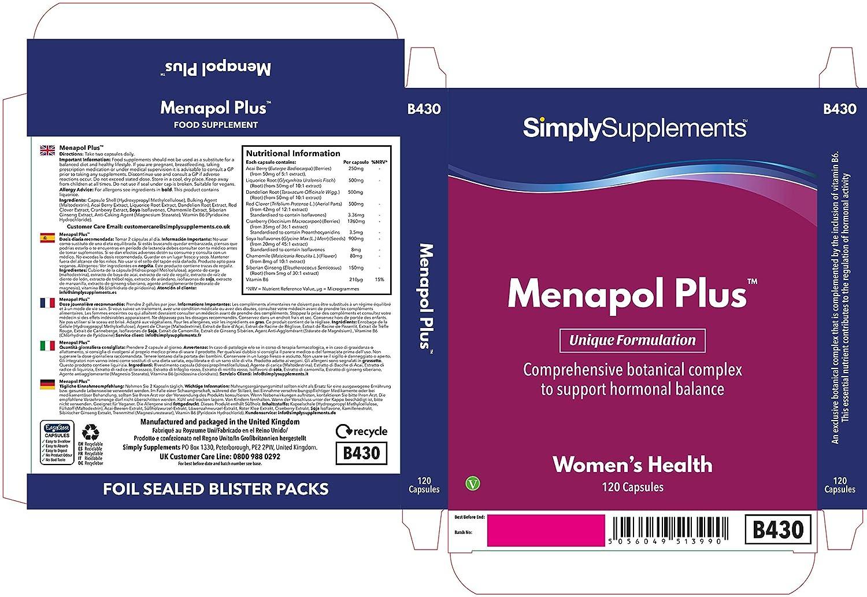 Menapol Plus -120 cápsulas - Hasta 2 meses de suministro - Para los síntomas de la menopausia -SimplySupplements: Amazon.es: Salud y cuidado personal
