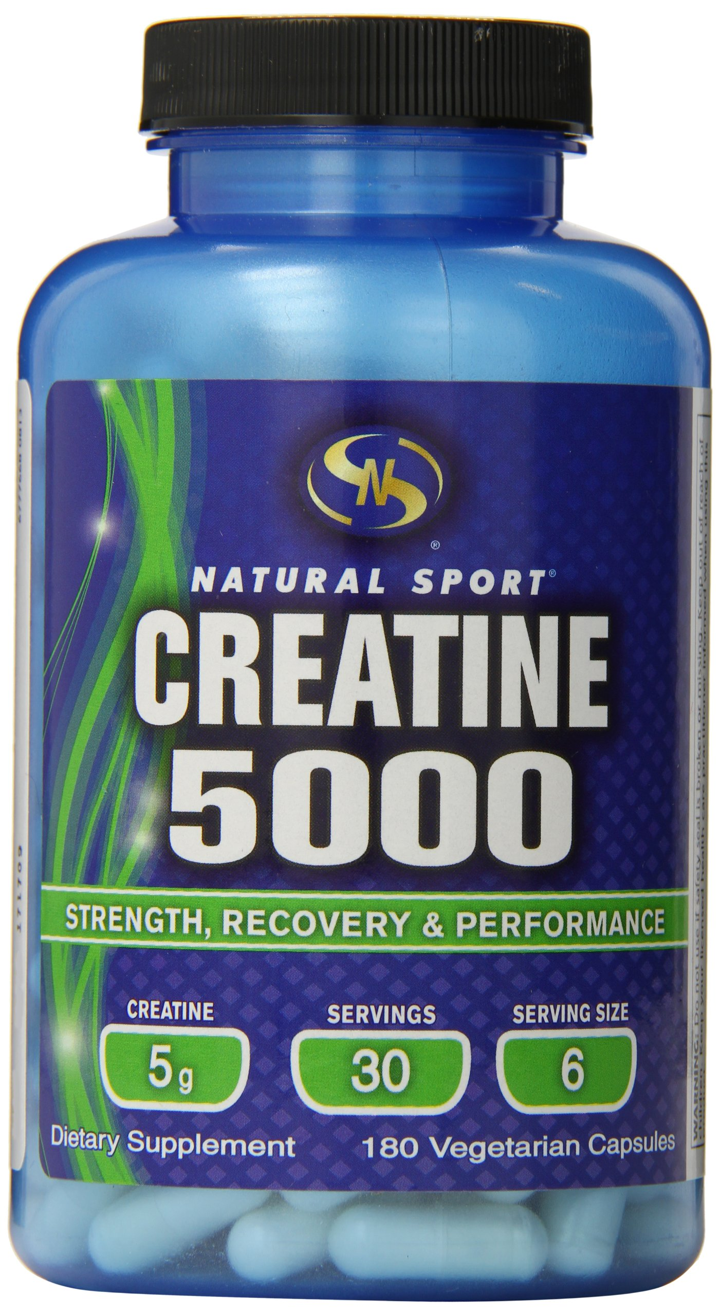 Natural Sport Creatine 5000 Vegetarian Capsules, 180 Count by Natural Sport