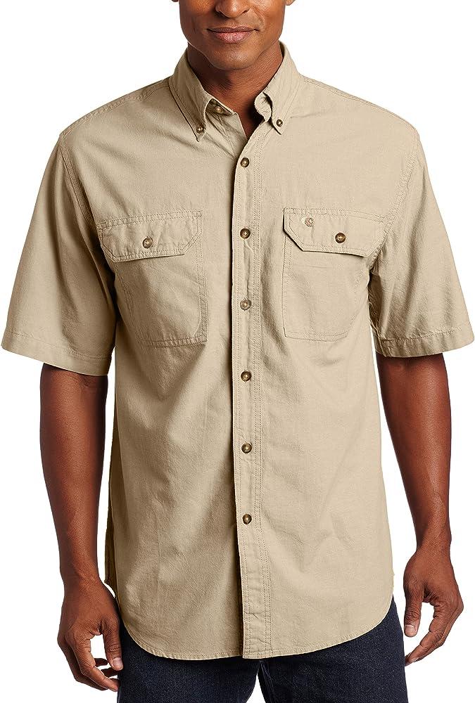 Camisa de manga corta para hombre Carhartt S200, frente abotonado, de cambray ligero, X-Large, Dark Tan Chambray, 1: Amazon.es: Amazon.es