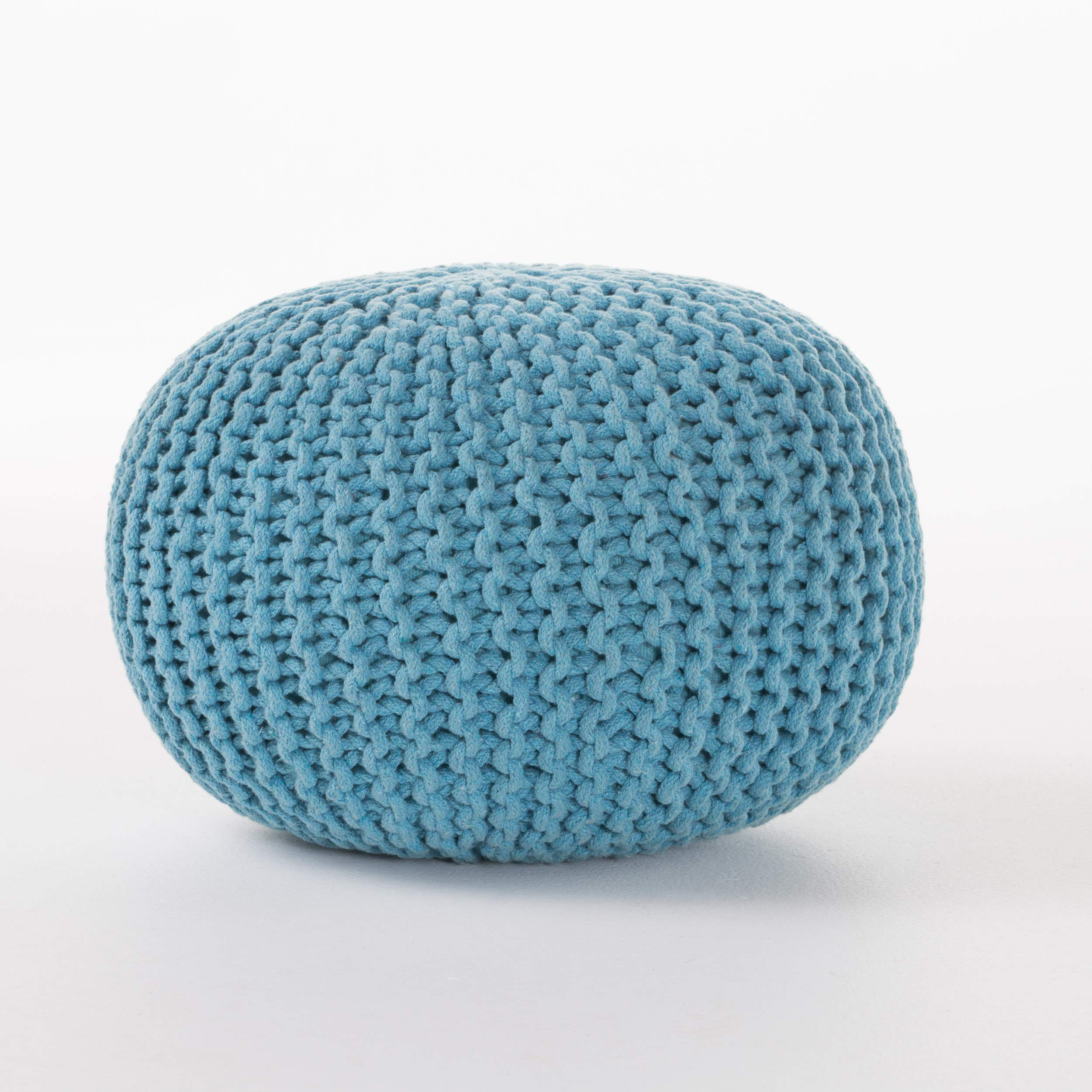 Christopher Knight Home Poona Hand Knitted Artisan Round Pouf (Aqua) by Christopher Knight Home