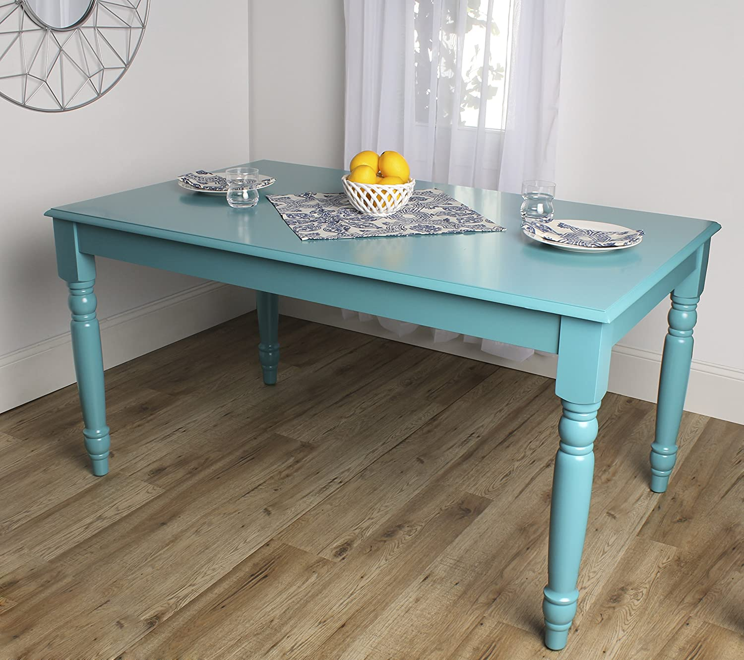 Amazon.com - Kate and Laurel Turin Wood Dining Table with Farmhouse ...