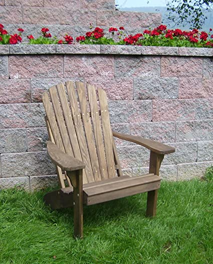 Amazon Com Wood Adirondack Chair Solid Pine Chairs Patio Deck