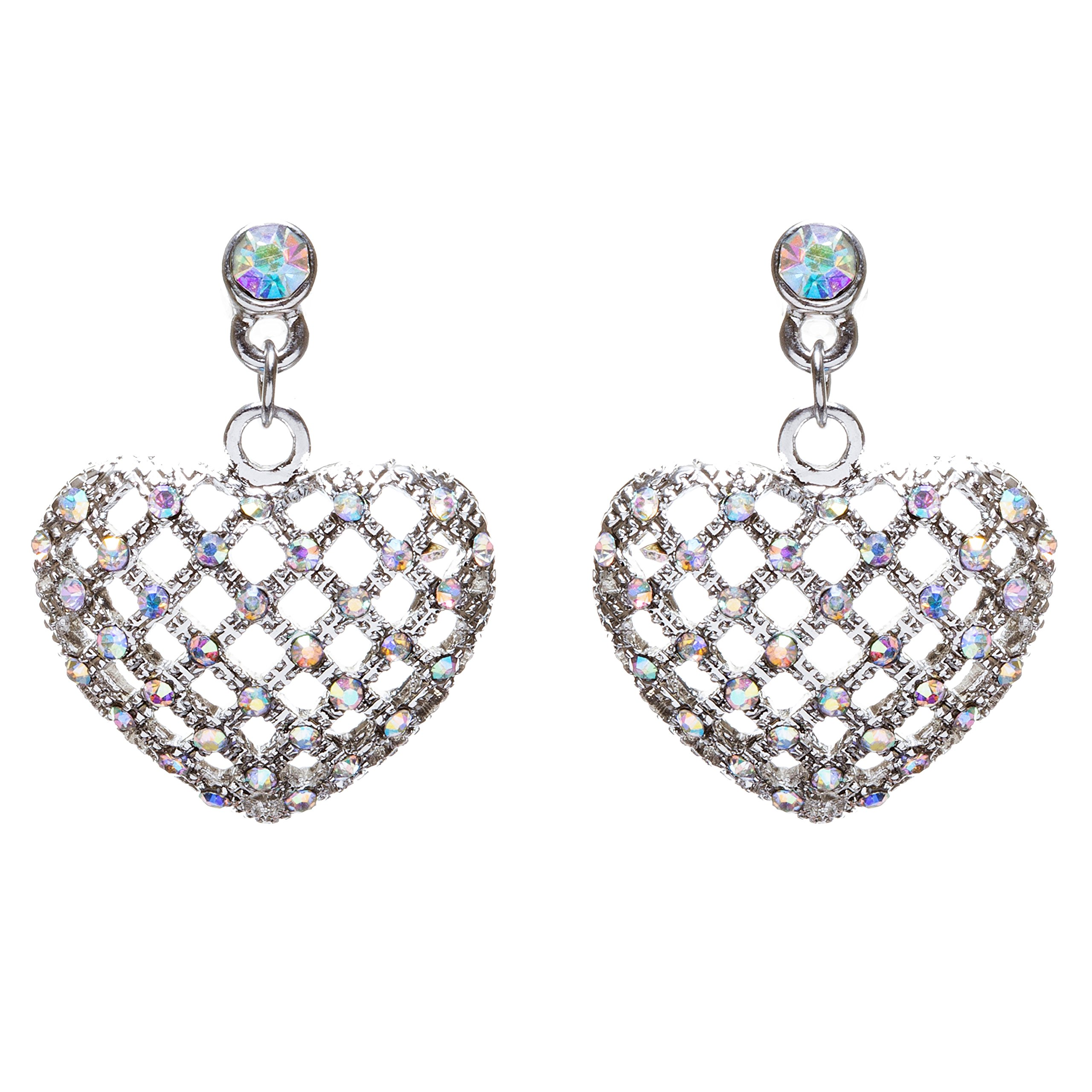 ACCESSORIESFOREVER Women Valentine's Day Jewelry Crystal Rhinestone Charming Heart Dangle Earrings E933SV