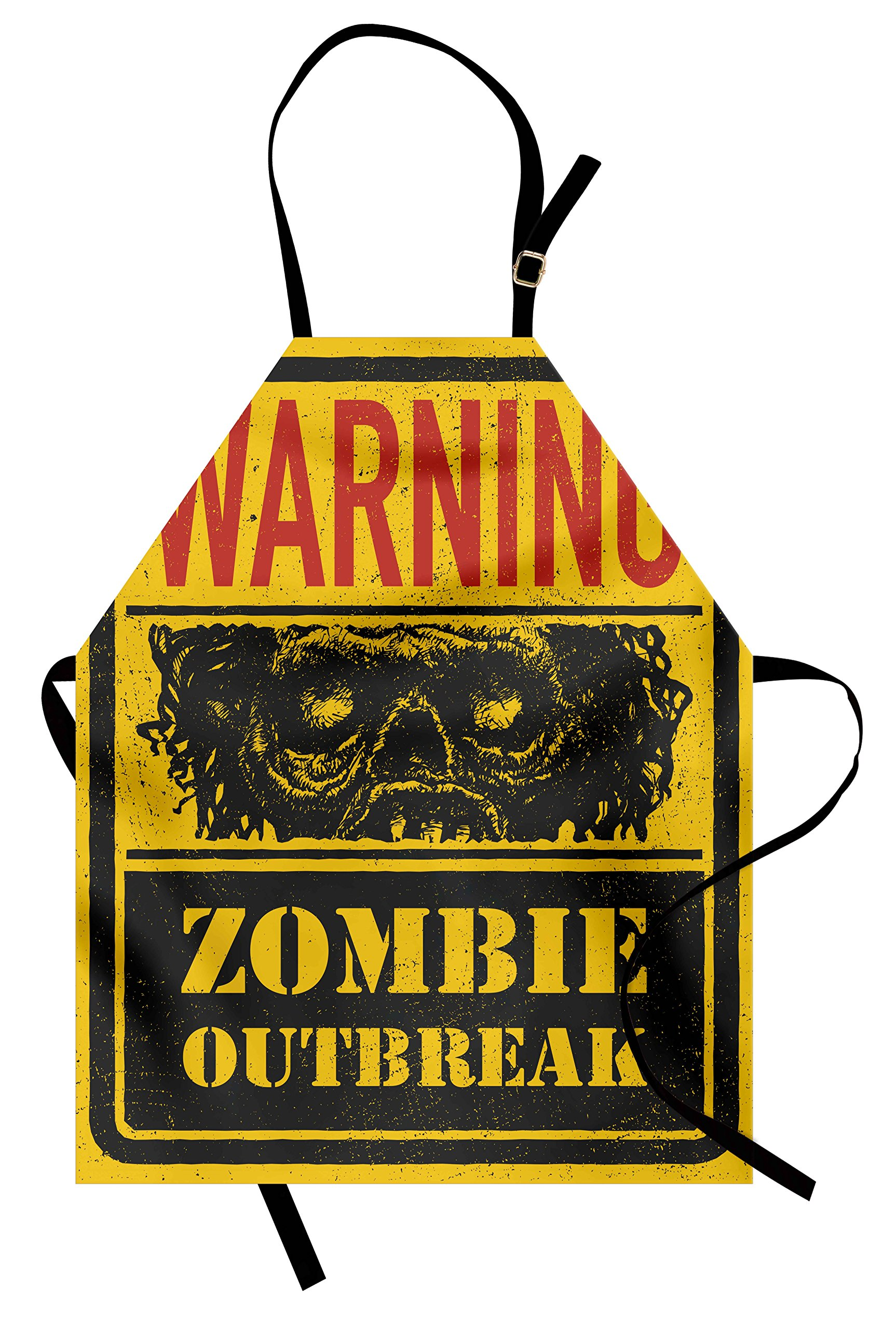 Ambesonne Zombie Apron, Retro Warning Outbreak Horror Monster Sign in Vintage Grunge Illustration, Unisex Kitchen Bib Apron with Adjustable Neck for Cooking Baking Gardening, Earth Yellow Grey Red