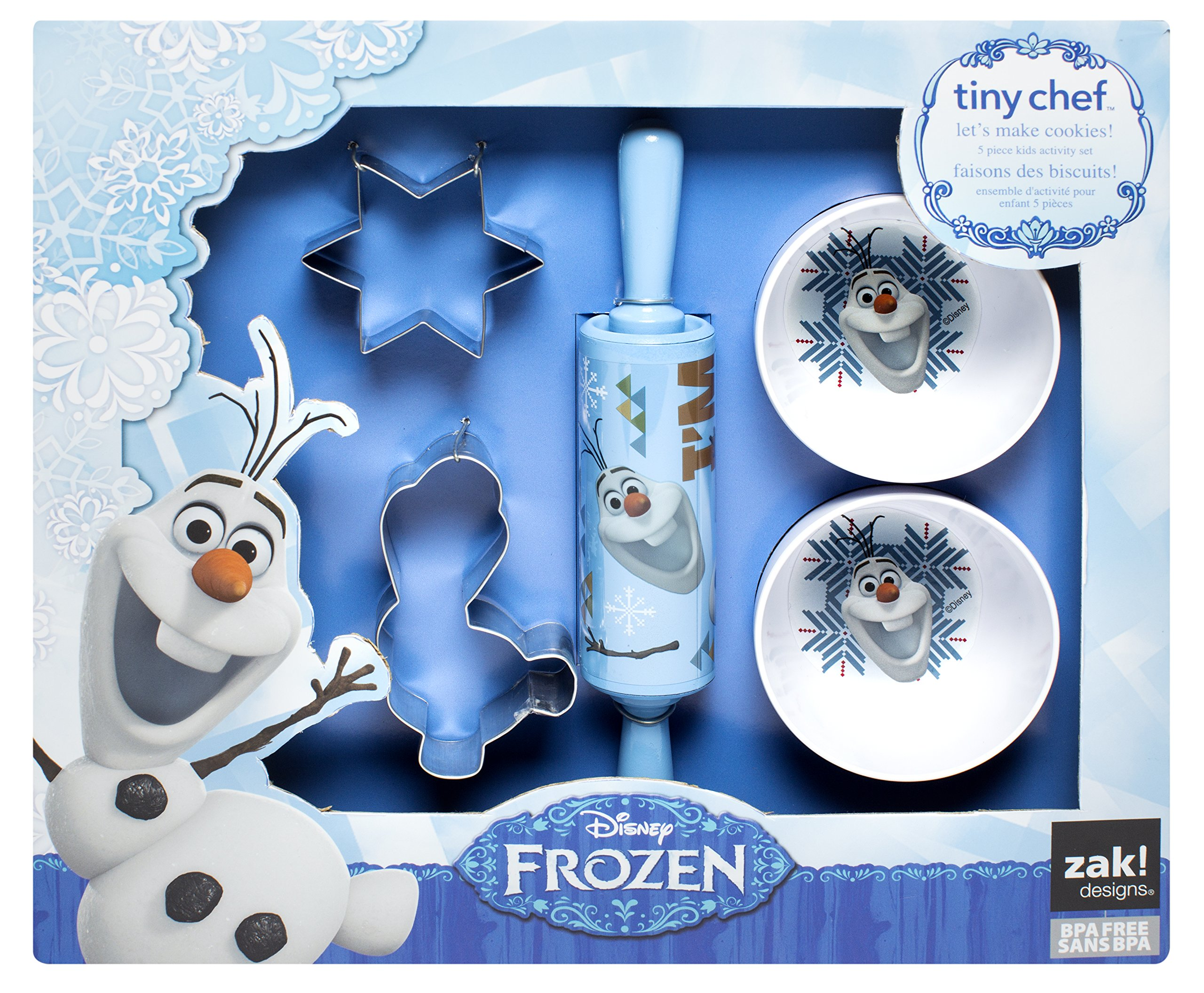 Zak! Designs 5-Piece Tiny Chef Cookie Baking Set with Olaf from Frozen