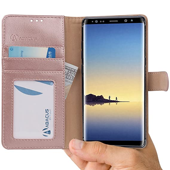 finest selection 9a16f 2daf8 Abacus24-7 Samsung Galaxy Note 8 Case, Leather Wallet with Flip Cover,  Credit Card Pockets and Stand, Rose Gold