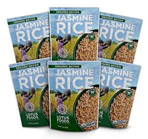 Lotus Foods Organic Brown Jasmine Heat & Eat Rice Pouch, 8 Ounce , 6Count