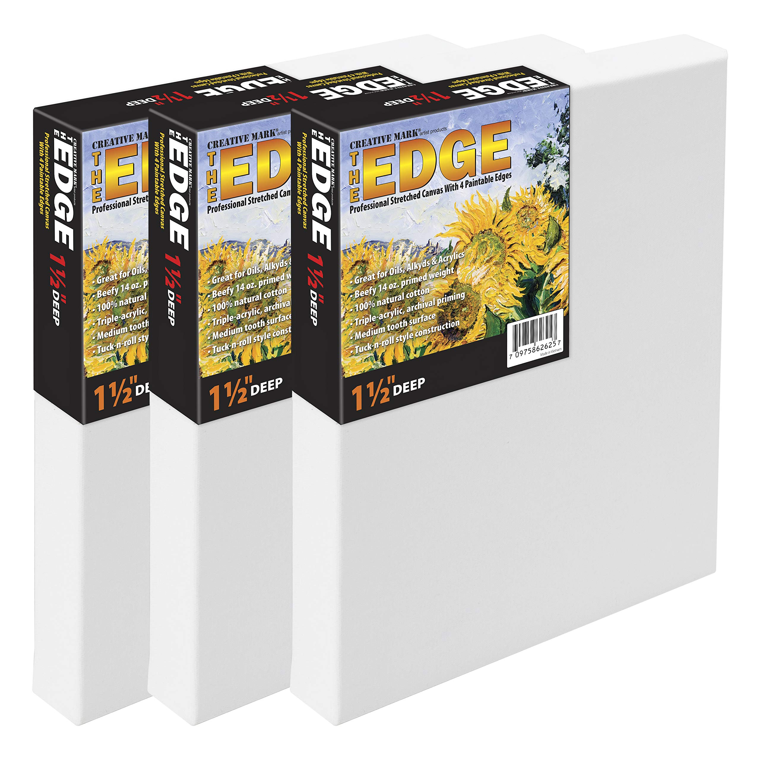 The Edge All Media Cotton Canvas 1-1/2'' Box of Three 30x30'' by Creative Mark