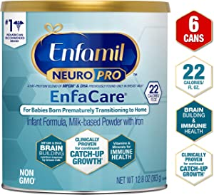 Enfamil NeuroPro EnfaCare Premature Baby Formula Milk Powder Cans 12.8 oz. (Pack of 6 Cans) Iron, MFGM, Omega 3 DHA, Probiotics, Immune Support & Brain Development(Package May Vary)