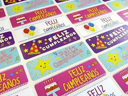 Pack de 32 feliz cumpleanos español pegatinas, de felicitación de ...
