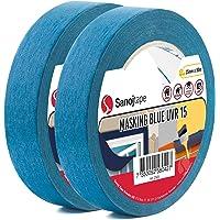 Sanojtape Blauw Maskerende Tape Pro (2-Pack) 25 mm x 50 m Professionele Maskeringstape UV-Bestendig tot 14 Dagen Buiten…