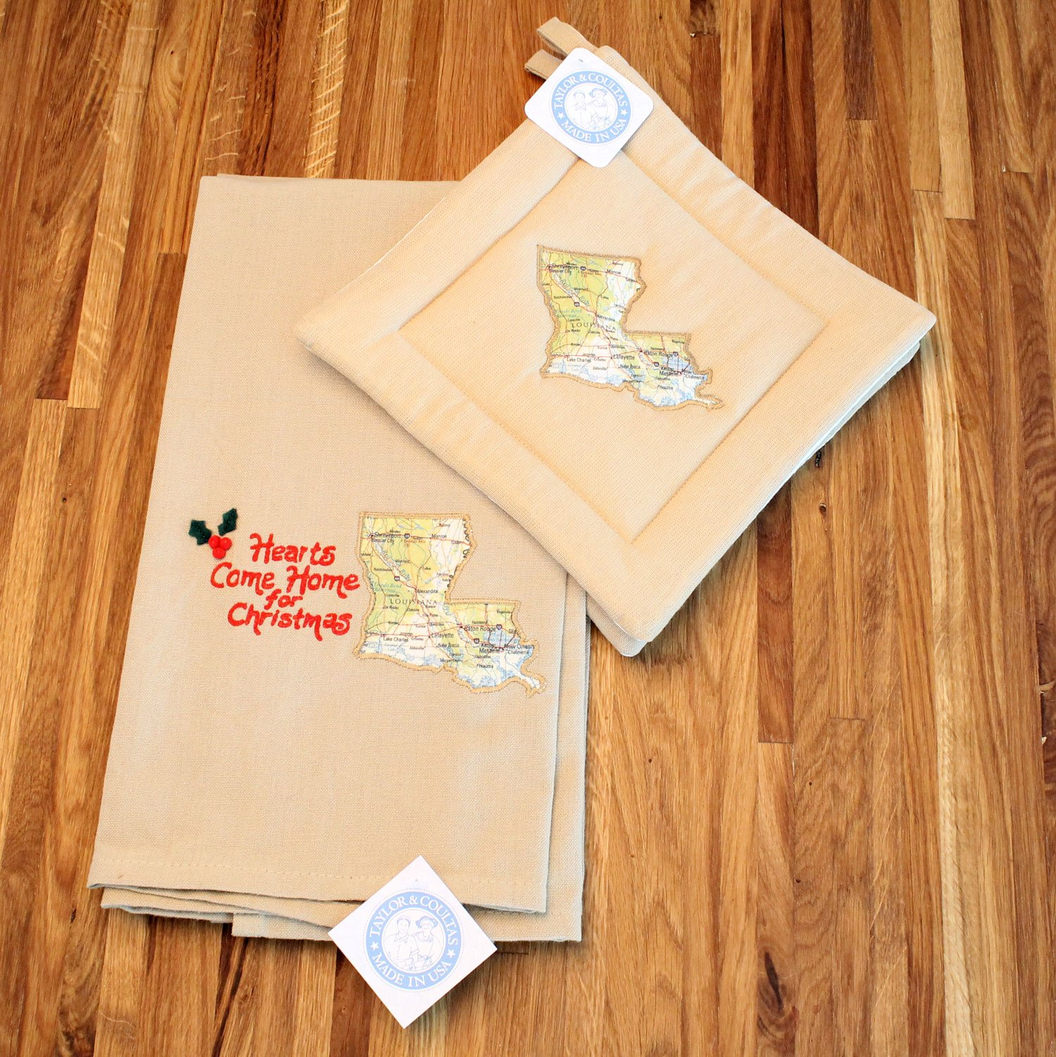 Custom Holiday Christmas Kitchen Towel and Potholder Gift Set (Louisiana) by Taylor & Coultas