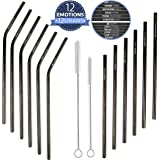Reusable Stainless Steel Straws with Motivational Quotes by Home Gnome - Set of 12 Long Black Eco Friendly Straws - 6 Straight, 6 Bent + 2 Cleaning Brushes - Perfect for Alcoholic Drinks, Cocktails, Fresh Juice, Smoothies or Ice Tea.