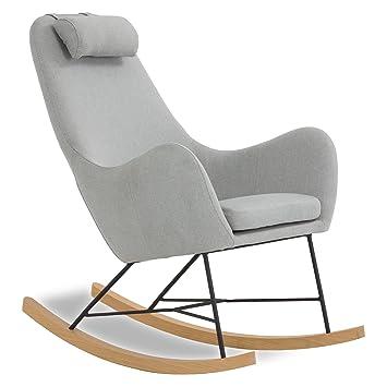 Designer Schaukel Stuhl Aus Stoff Mit Armlehnen Grau Rocha
