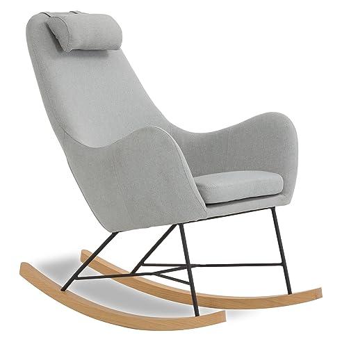 Gemütliche sessel  Designer Schaukel-Stuhl aus Stoff mit Armlehnen grau | Rocha ...