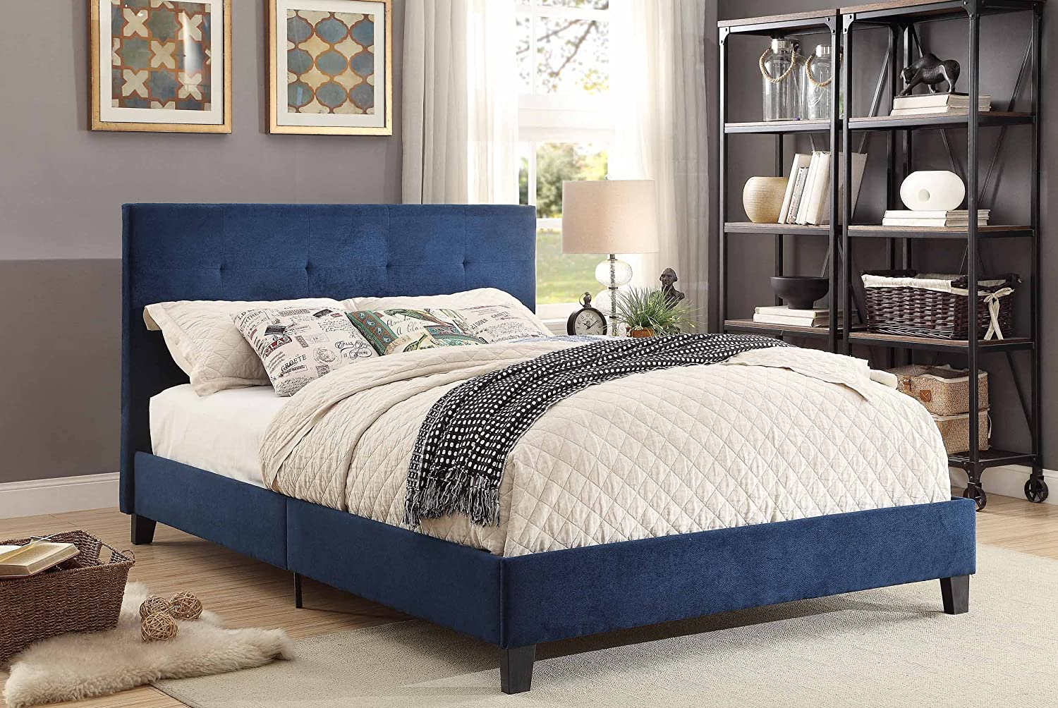 Amazon.com: Homelegance Upholstered Queen Platform Bed Frame w ...