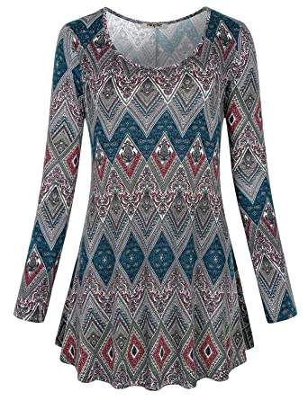 dc12d7007247 Hibelle Floral Print Tops for Women, Ladies Long Sleeve Loose Relaxed Comfy  Flowy Paisley Shirts