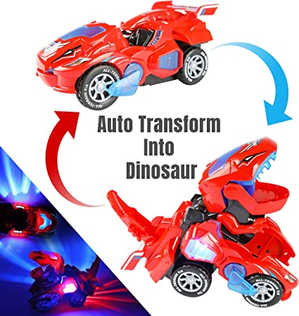 Transforming Dinosaur Car Toys with LED Light Music Automatic Deformation Red