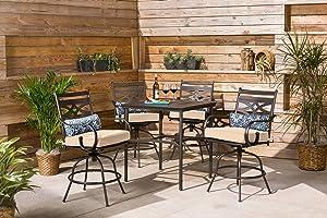 Hanover MCLRDN5PCBR-TAN Montclair 5-Piece High-Dining Patio Set in Country Cork Outdoor Furniture, Tan