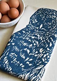 Owl Tea Towel, Organic Cotton, Navy Blue Print, Handmade in Maine